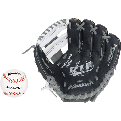 "Franklin Sports 9.5"" Tee Ball Recreational Glove with Ball, Black/Graphite/White, Right-Handed Thrower"