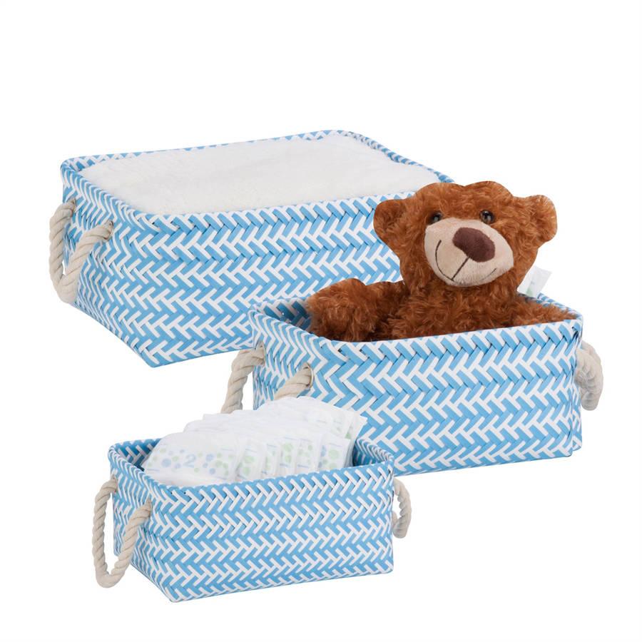 Honey-Can-Do Zig Zag, Set of 3 Baskets, Light Blue