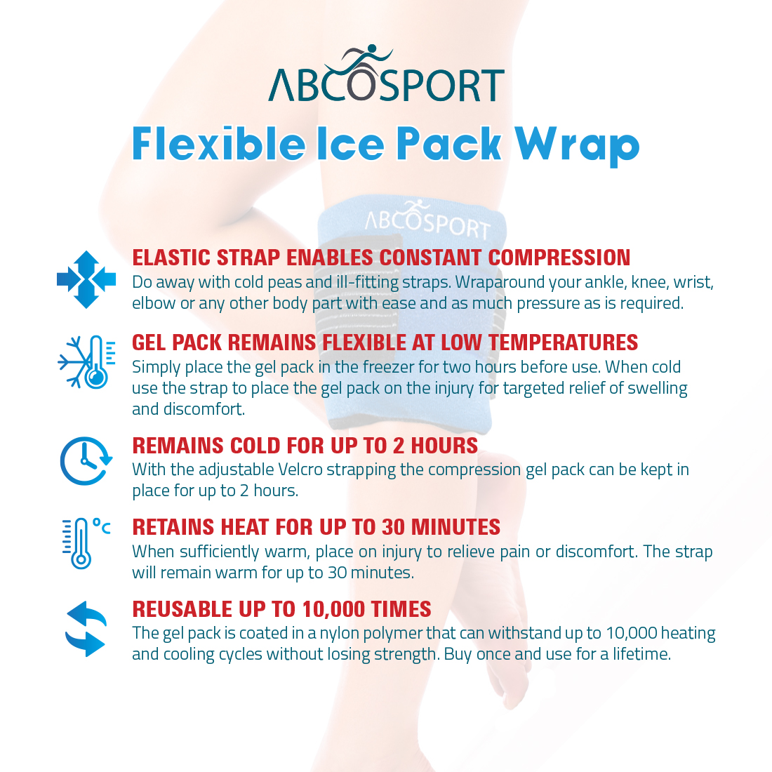 a4b8003c250d Flexible Gel Ice Pack & Wrap for Hot and Cold Compression Therapy -  Adjustable Velcro Strap for Desired Compression - Effective Pain Relief &  Recovery ...