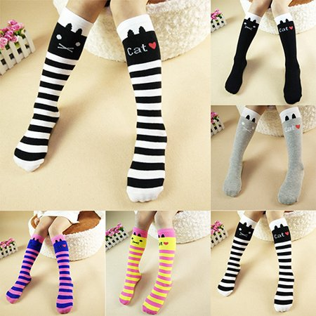 Obstce Girl Kid Cute Cat Cotton Knee High Socks In Tube Striped Straight Hosiery Socks - Cat Knee High Socks