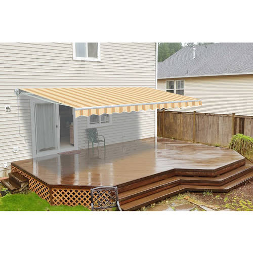 ALEKO 16'x10' Retractable Motorized Patio Awning, Multi Striped Yellow Color