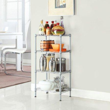 Ktaxon 4 Tier Corner Shelves Wire Shelving Rack Shelf Adjustable Storage Unit