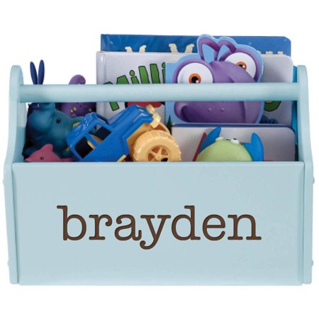 Personalized My Name Light Blue Toy Caddy Personalized Toy Bin