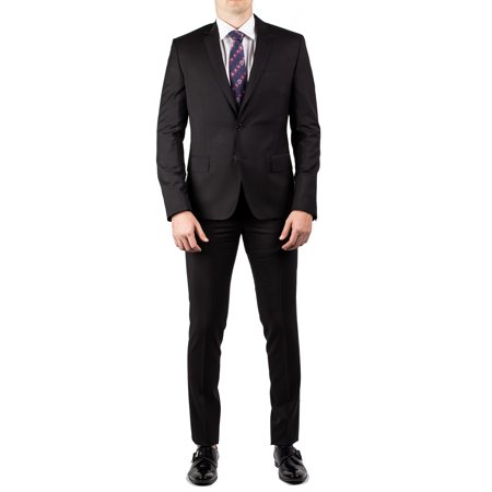 Luciano Barbera Club Men's Slim Tailored Fit Wool Suit Black - La Clubs Halloween 2017