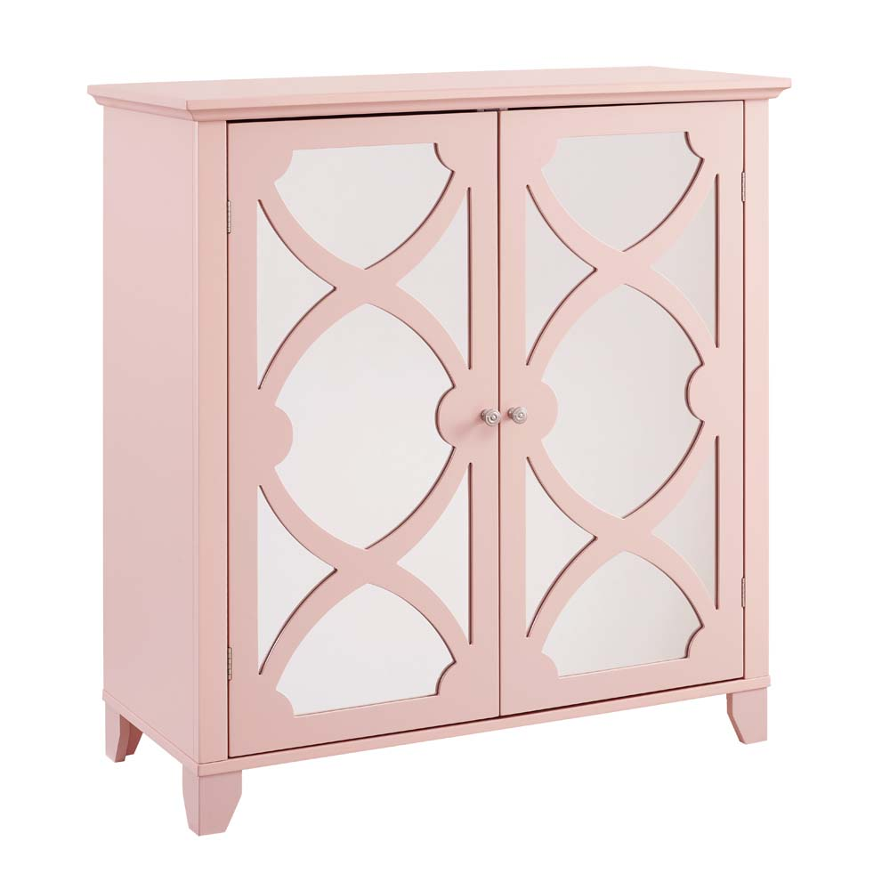 Linon Large Cabinet with Mirror Door, Multiple Colors