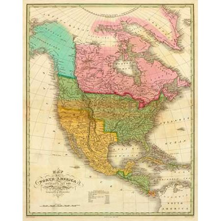 Map of North America Including All The Recent Geographical Discoveries 1826 Poster Print by Anthony Finley