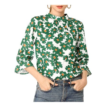 Allegra K Women's Ruffle 3/4 Sleeves Pleated Stand Collar Floral Printed Blouse Top S Green