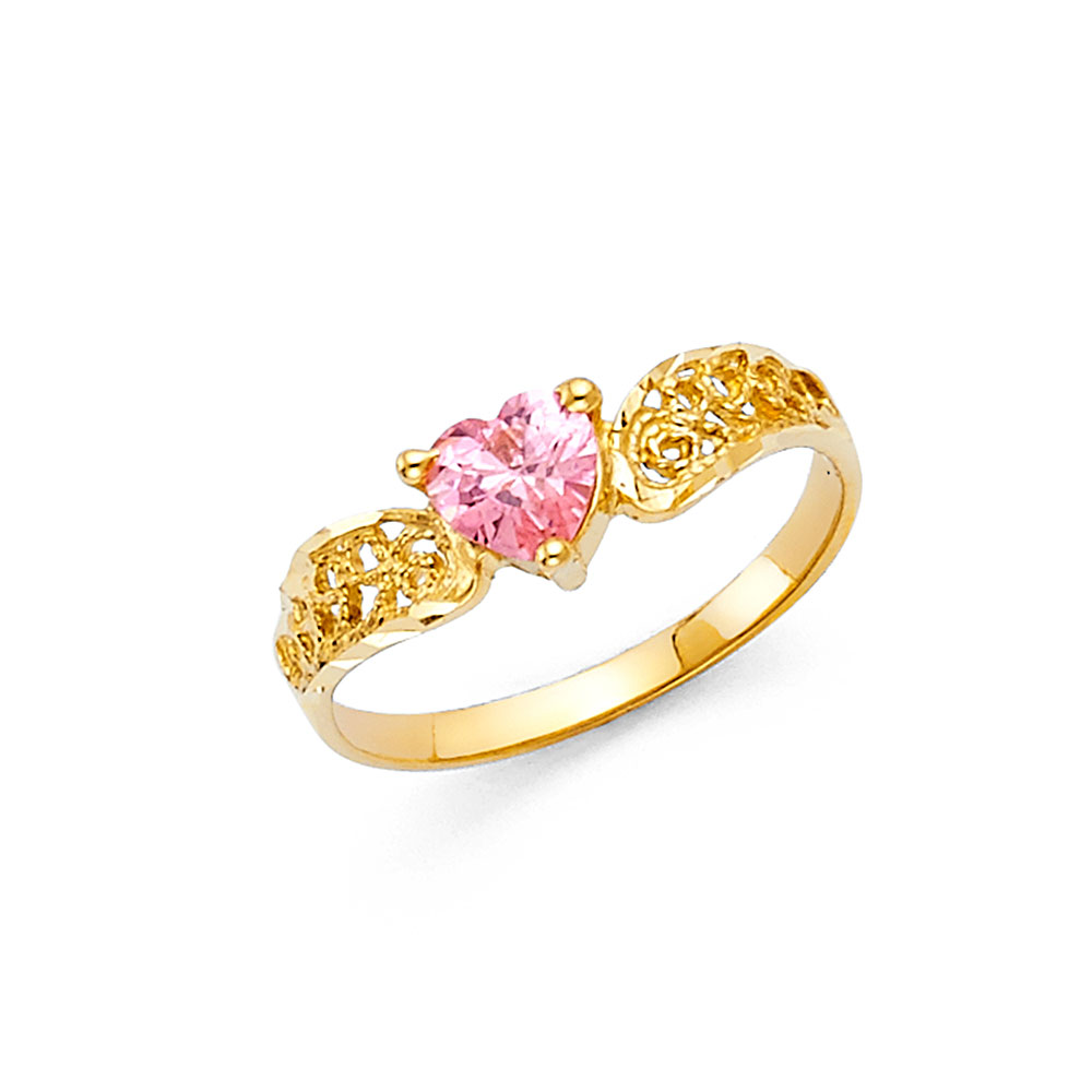 Pink Cubic Zirconia Heart Ring Solid 14k Yellow Gold Love Band Curve Promise Ring Fashion Polished Fancy by