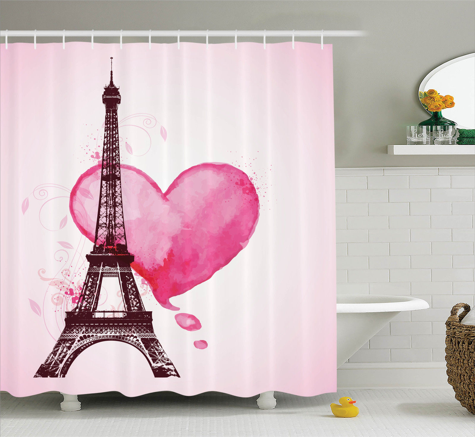 Eiffel Tower Decor Eiffel Romantic Valentine Love Watercolor Themed Heart Leaf Silhouette Print, Bathroom Accessories, 69W X 84L Inches Extra Long, By Ambesonne