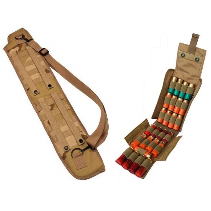 "Ultimate Arms Gear Tactical 29"" Desert Tan Camo Camouflage Molle Scabbard For Winchester 1200 / 1300 / Super X SXP X3 12 Gauge Shotgun + Tactical Tan Molle 25 Shot Shell Ammo Carrier Pouch"