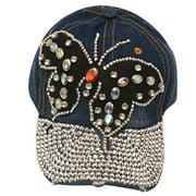 womens Dark Blue Denim Gemstone Butterfly Applique Cap Sun Hat