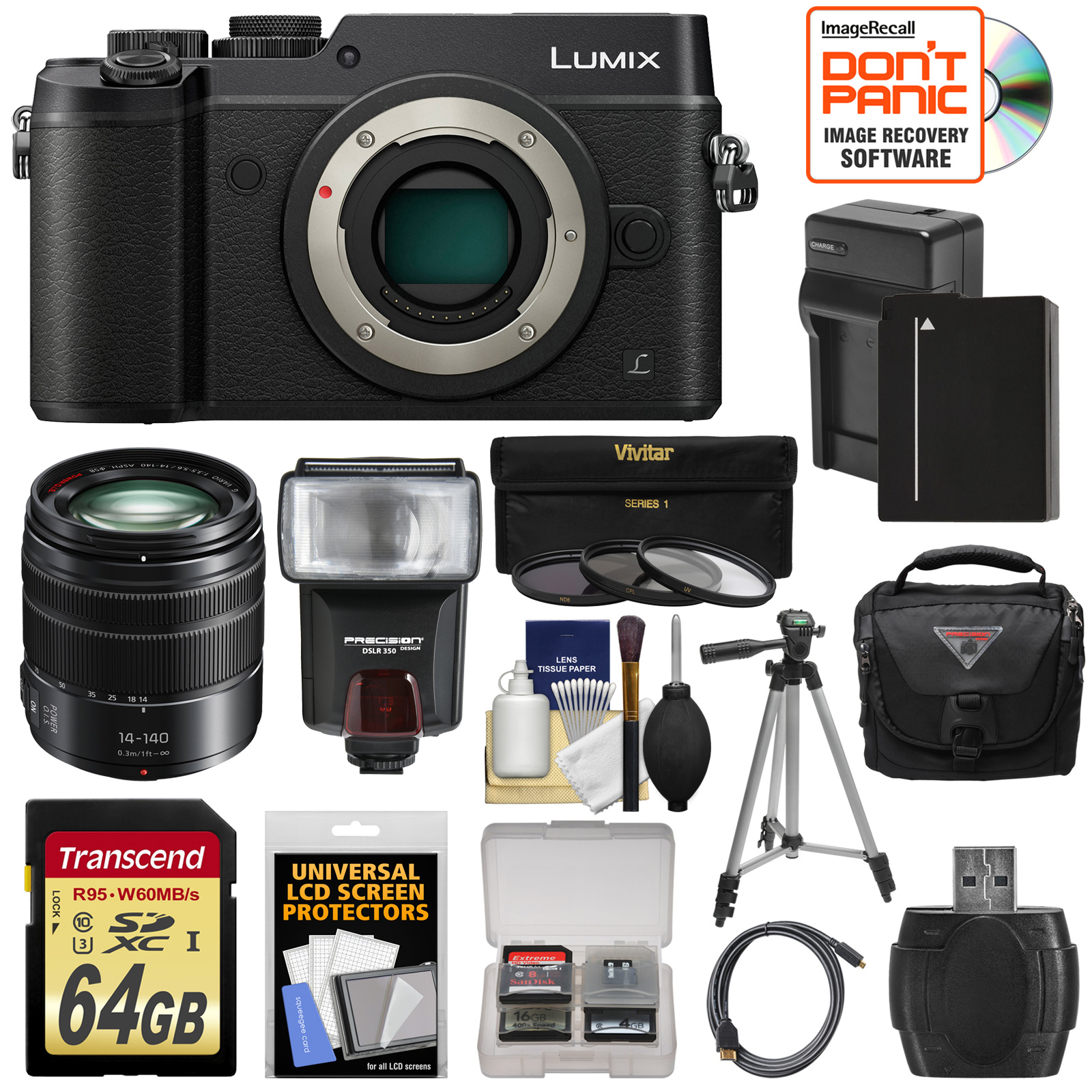 Panasonic Lumix DMC-GX8 4K Wi-Fi Digital Camera Body (Black) with 14-140mm Power OIS Lens + 64GB Card +... by Panasonic