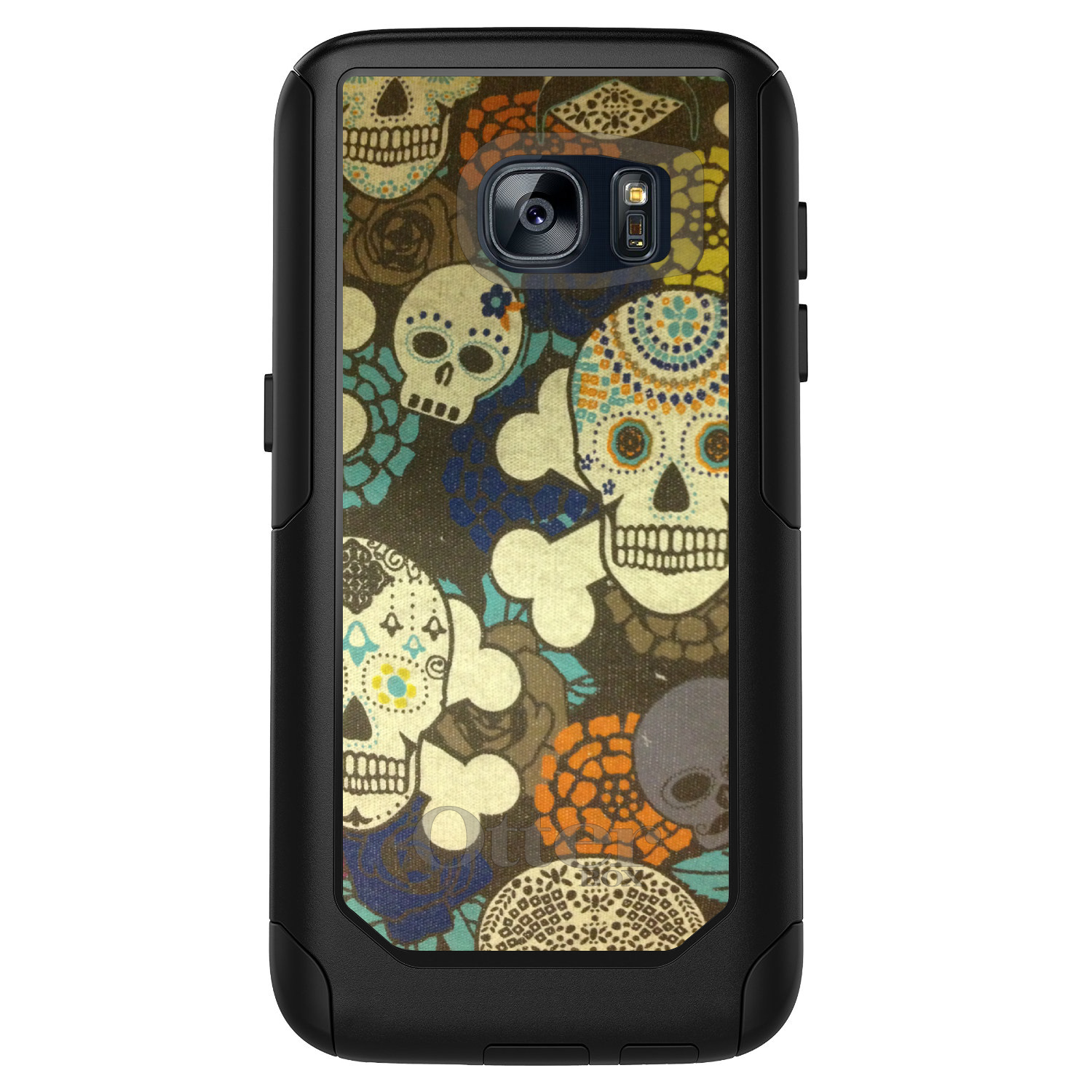 DistinctInk™ Custom Black OtterBox Commuter Series Case for Samsung Galaxy S7 - Sugar Skulls Green Orange
