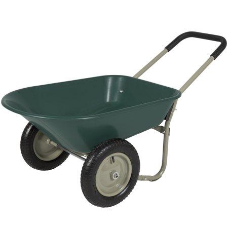 Best Choice Products Dual-Wheel Wheelbarrow w/ Built-in Stand - Green - Decorative Wheelbarrow