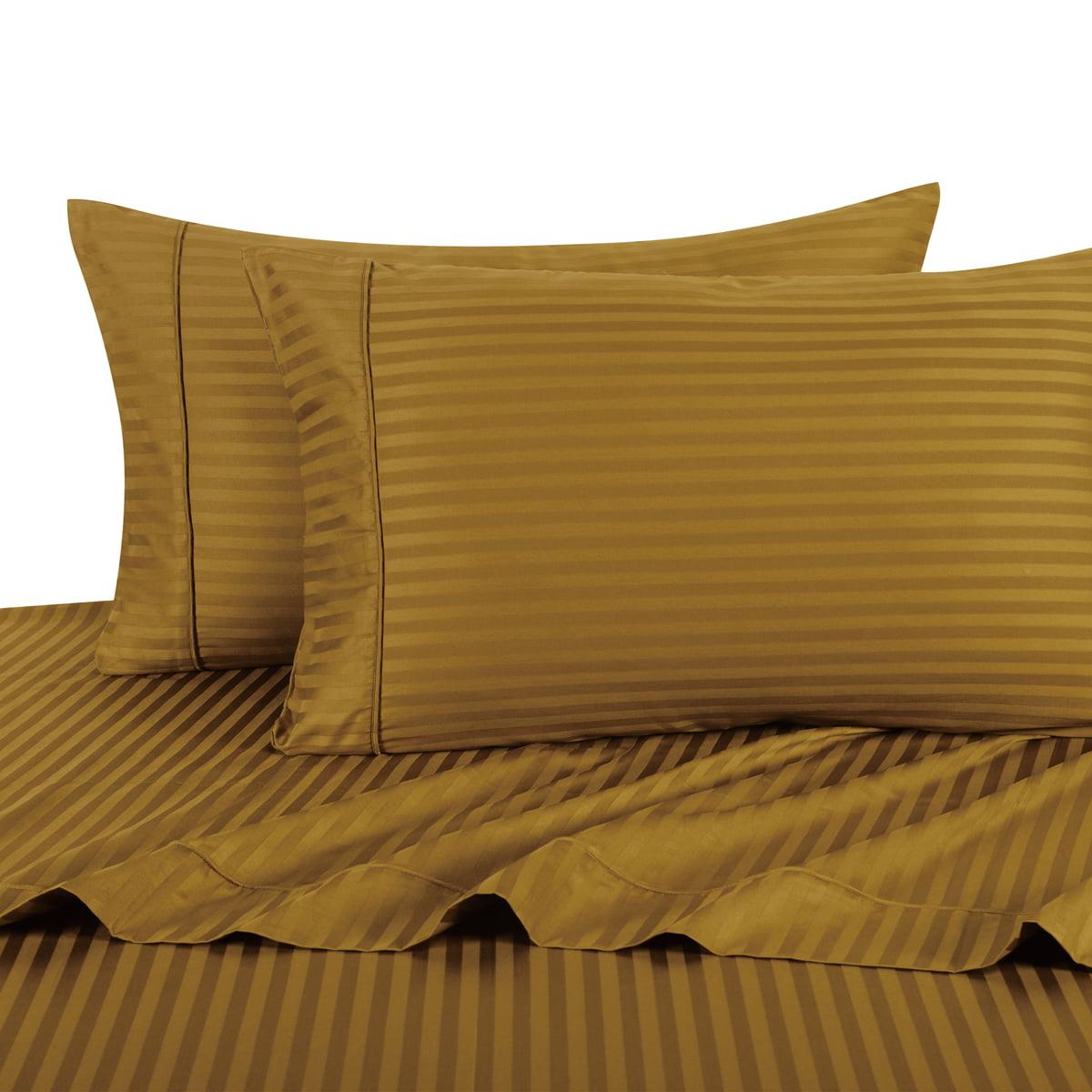 100% Cotton Sateen Bed Sheet Set 300 Thread Count Damask Striped - California King-Blush