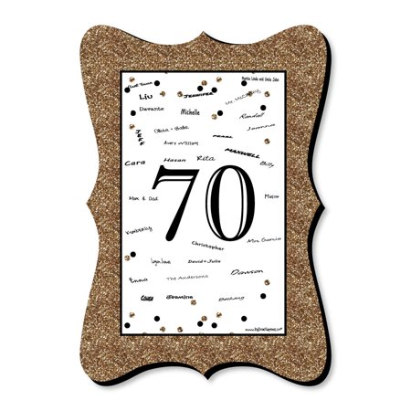 Adult 70th Birthday - Gold - Unique Alternative Guest Book - Birthday Party Signature Mat](70th Birthday Banner)