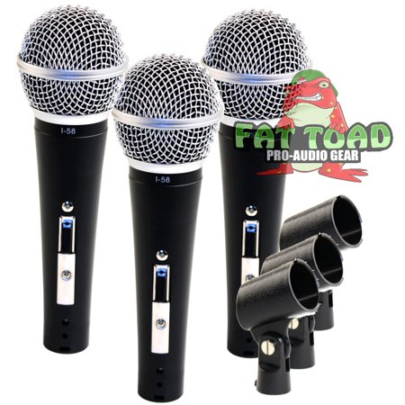 Vocal Handheld Microphones & Clips (3 Pack) by Fat Toad Professional Cardioid Dynamic, Unidirectional Mic Singing Microphone Designed for Music Stage Performances & Studio Recording or PA DJ Karaoke