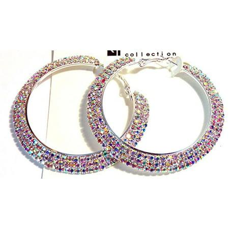 Large Crystal Hoop Earrings Iridescent Rhinestone Earrings 2.5