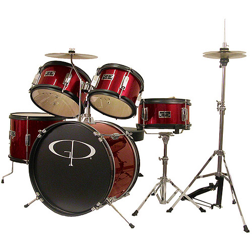 GP Percussion 5-Piece Junior Drum Set, Red