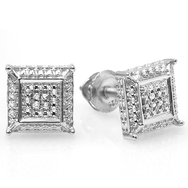 0.05 Carat (ctw) White Round Diamond Micro Pave Setting Kite Shape Stud Earrings