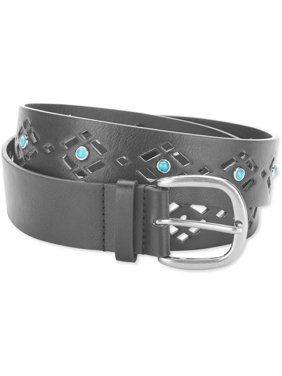 e74c06207 Product Image Faded Glory Ladie's Jean Belt with Cutouts and Turquoise  Detail