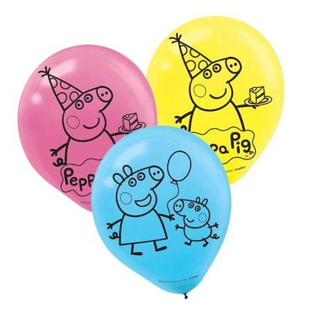 Peppa Pig Latex Balloons (6) - George Pig Party Supplies