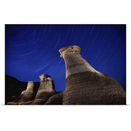 Great Big Canvas Richard Wear Poster Print Entitled Hoodoos And Star Trails In The Sky  Drumheller  Alberta  Canada