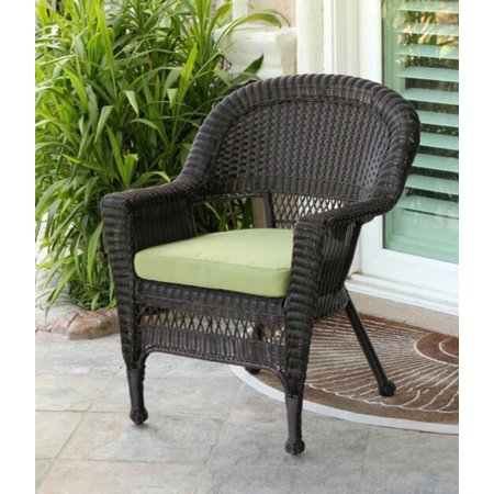 36 Espresso Brown Resin Wicker Outdoor Patio Garden Chair Green Cushi