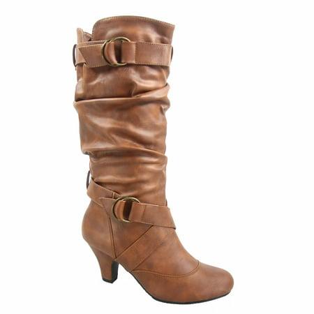 Maggie-39 Women's Round Toe High Heel Zipper Mid-Calf Causal Dress Boots (Best Brown Leather Boots)