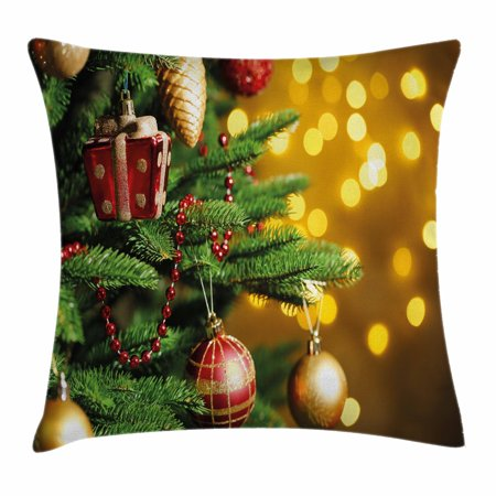 Christmas Throw Pillow Cushion Cover, Close Up Decorated Christmas Tree Branches on Blurred Fairy Backdrop Picture, Decorative Square Accent Pillow Case, 18 X 18 Inches, Gold Green Red, by Ambesonne