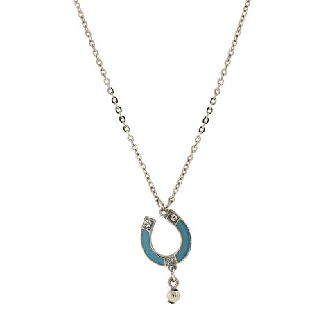 Silver Tone Turquoise Color Enamel with Crystal Accent Horseshoe Necklace 16Adj