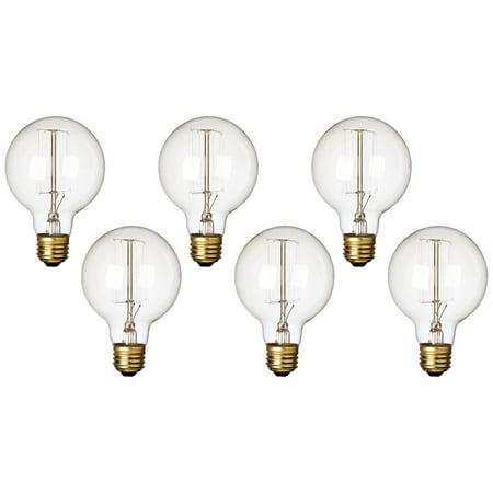 Clear 60 Watt Standard G25 Edison Style Light Bulb