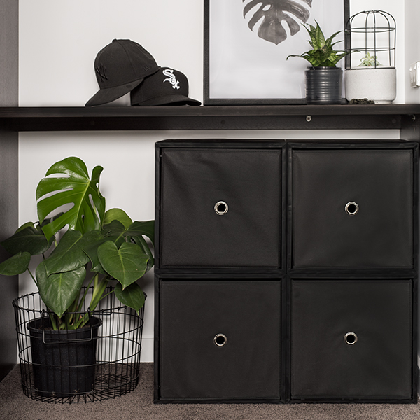 iCube 4-Cube Lowboy with Drawers, Black