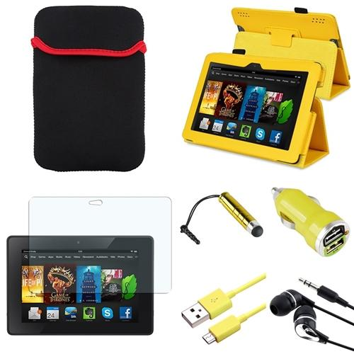 INSTEN Yellow Leather Case Stand Cover Pouch+Stylus/Adapter/Headset For Kindle Fire HDX 7 7""