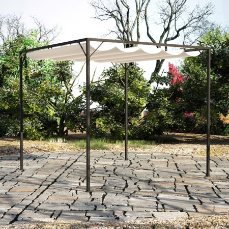 Tidyard Gazebo with Retractable Roof Canopy Space Shelter Garden Water & UV Resistant 10' x 10' x 7' 5