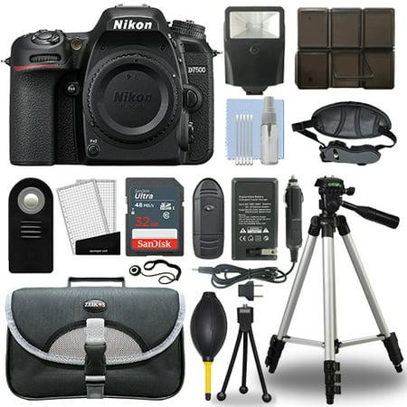 Nikon D7500 20.9 MP Digital SLR Camera Body + 32GB Top Accessory Bundle