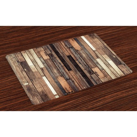Wooden Placemats Set of 4 Brown Old Hardwood Floor Plank Grunge Lodge Garage Loft Natural Rural Graphic Artsy Print, Washable Fabric Place Mats for Dining Room Kitchen Table Decor,Brown, by Ambesonne Lodge Tapestry Placemat