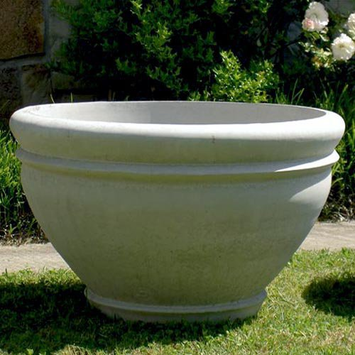 Round Cast Stone Riverbend Garden Planter