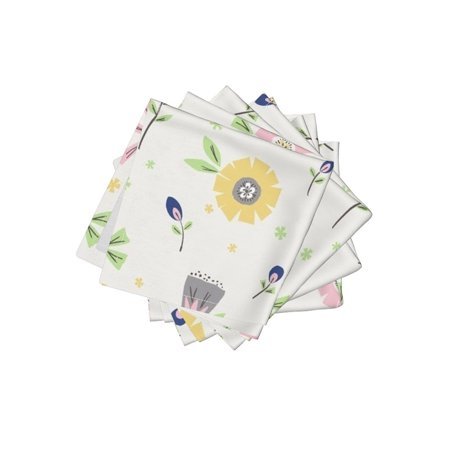 Cocktail Napkins Floral Retro Style Collage Flowers Geometric Cut Out Set of 4