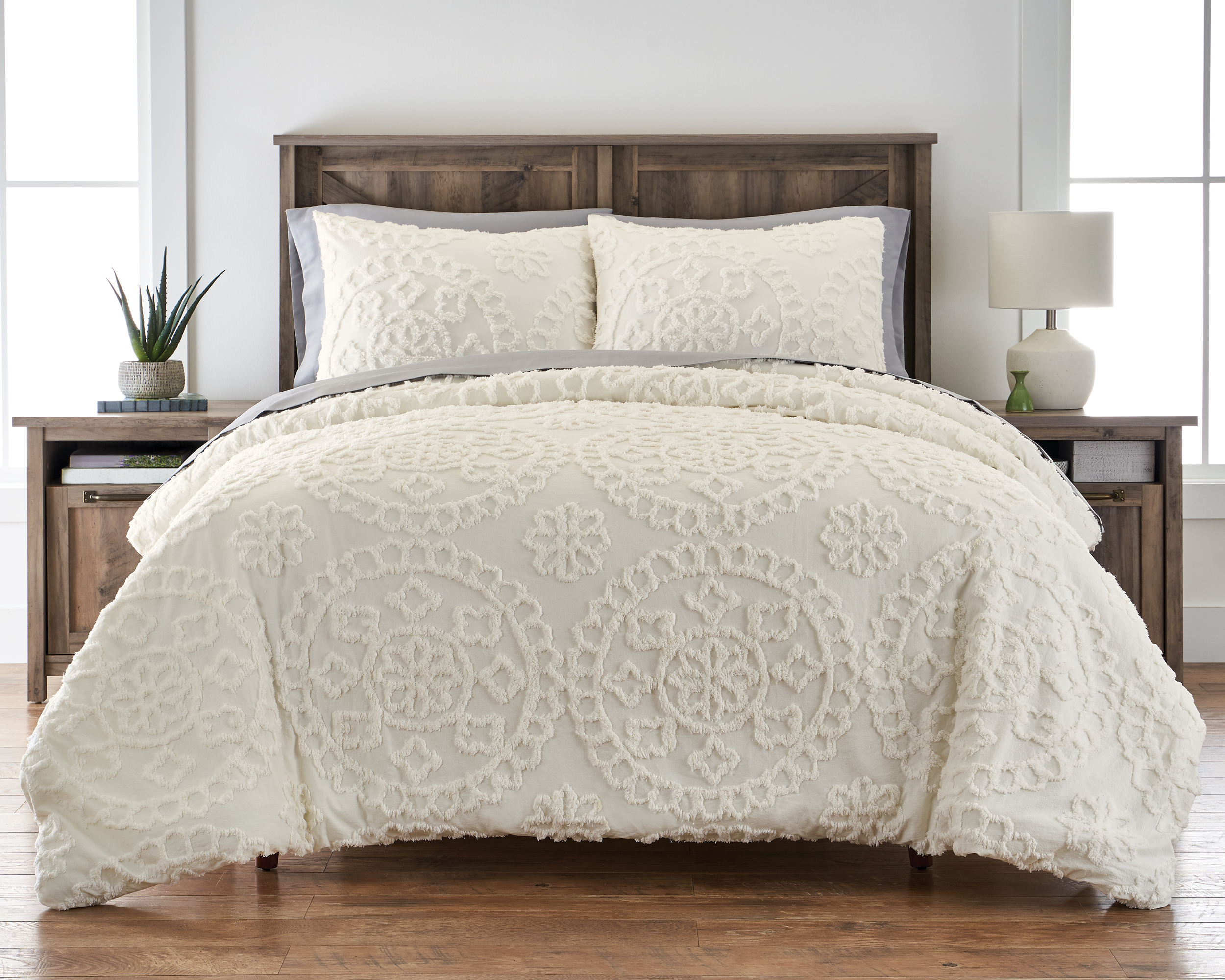 Better Homes and Gardens Tufted Global Ivory 3 Piece Comforter Set
