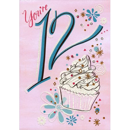 Definition Of Golden Birthday (Designer Greetings Cupcake with White Frosting and Gold Foil Age 12 / 12th Birthday Card for)