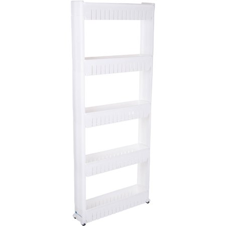 Lavish Mobile Shelving Unit Organizer with 5 Large Storage Baskets, Slim Slide Out Pantry Storage Rack for Narrow Spaces by Everyday Home