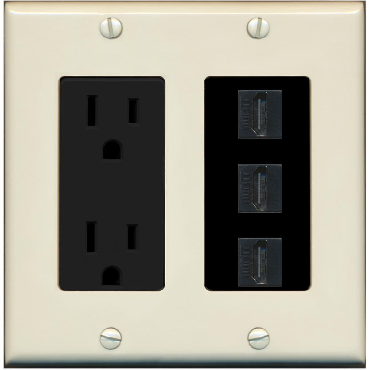 RiteAV - 15 Amp Power Outlet 3 Port HDMI Decora Wall Plate - Light Almond/Black