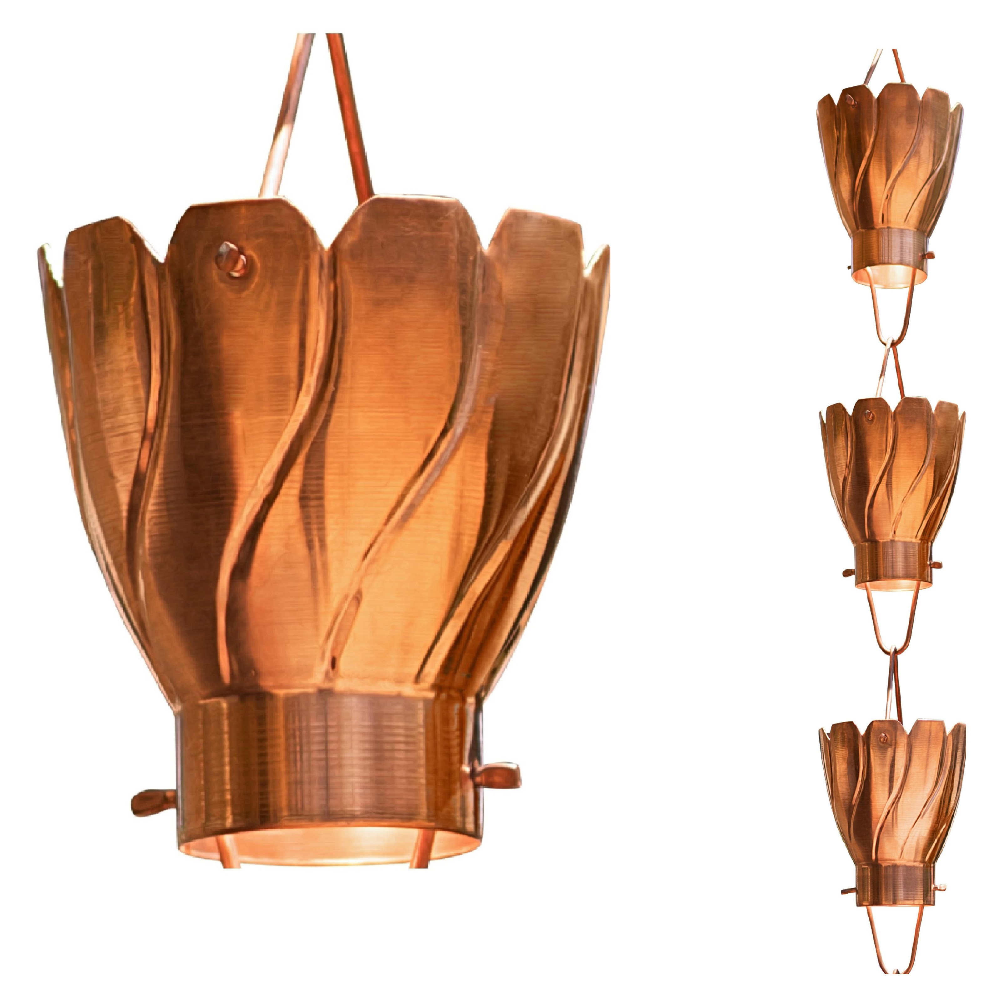 Monarch Large Cup Pure Copper Akira Rain Chain 8.5 Ft
