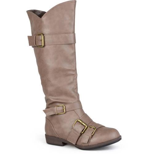 Brinley Co Women's Round Toe Buckle Detail Boot