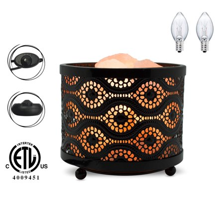 Himalayan Glow Mosaic Design Metal Basket Night Light with Salt - Mosaic Design