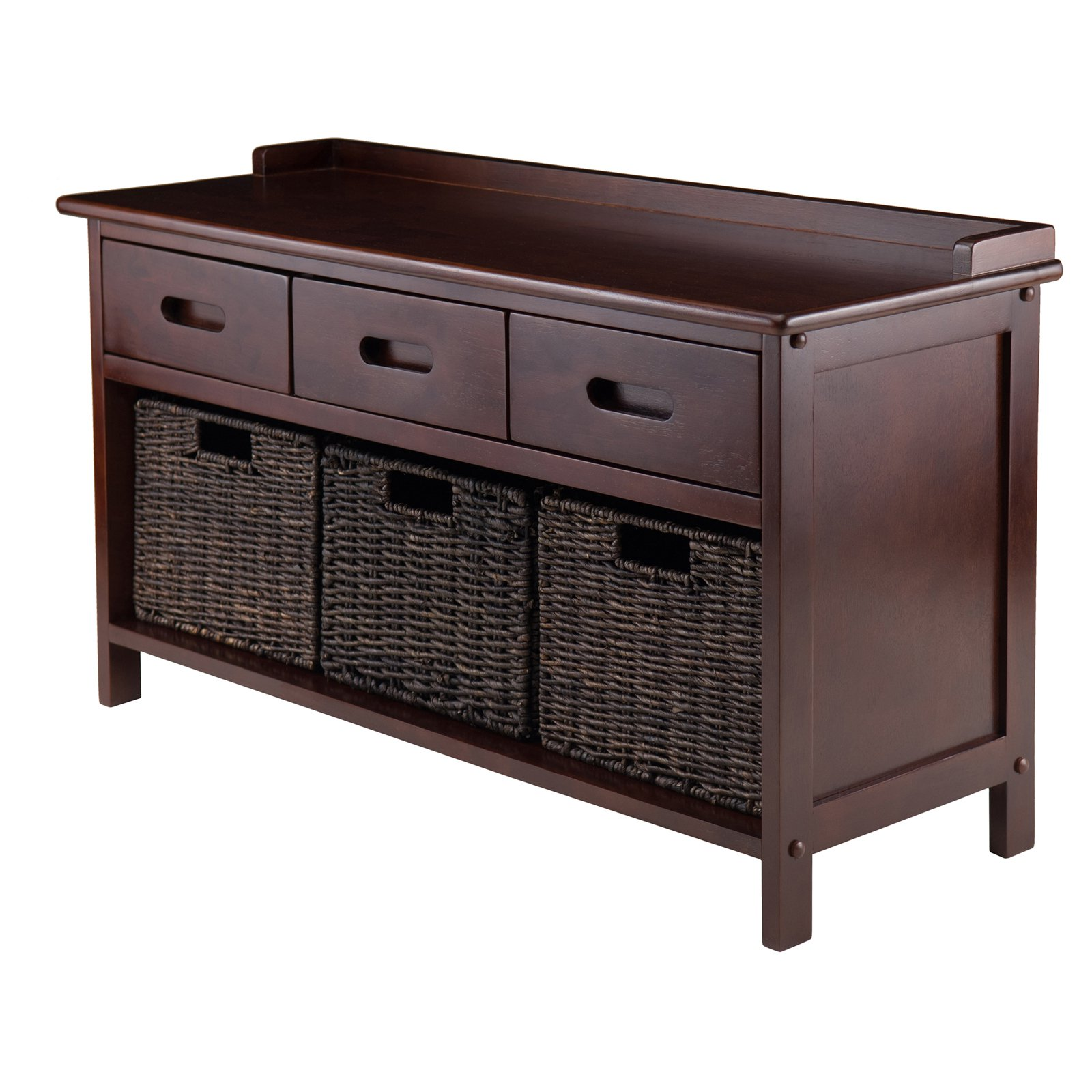 Winsome Wood Adriana 4-Pc Storage Bench with 3 Foldable Baskets