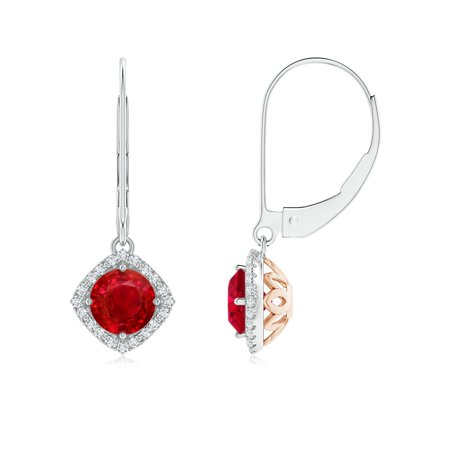 Black Friday Sale - Vintage Inspired Round Ruby Halo Earrings with Filigree in 14K White & Rose Gold (5mm Ruby) - SE1560RD-WRG-AAA-5