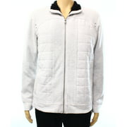 INC NEW Gray Mens Large L Mock Neck Faux-Shearling Quilted Sweater Jacket