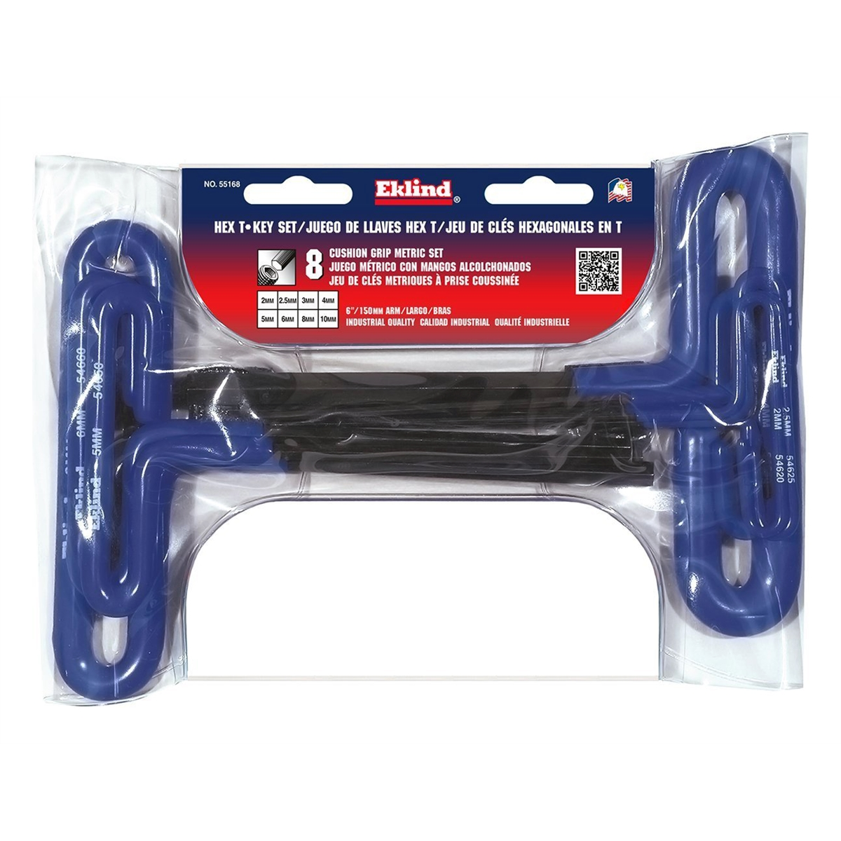 Eklind 55168 8-Piece Metric T-Handle Hex Key Set 2mm to 10mm, 6-Inch